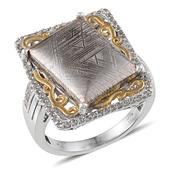 Marvelous Meteorites, White Topaz 14K YG and Platinum Over Sterling Silver Ring (Size 9.0) TGW 21.890 cts.