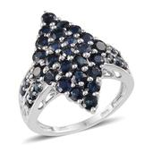 Kanchanaburi Blue Sapphire Platinum Over Sterling Silver Attractive Cluster Ring (Size 7.0) TGW 4.350 cts.