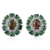 Lab Created Black Opal, Simulated Green Diamond, White Topaz Platinum Over Sterling Silver Stud Earrings TGW 7.500 cts.
