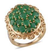 Kagem Zambian Emerald, Diamond 14K YG and Platinum Over Sterling Silver Ring (Size 7.0) TDiaWt 0.02 cts, TGW 5.920 cts.