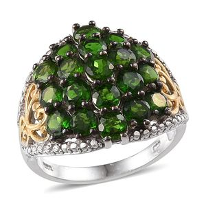 Russian Diopside 14K YG and Platinum Over Sterling Silver Openwork Cluster Ring (Size 7.0) TGW 6.50 cts.