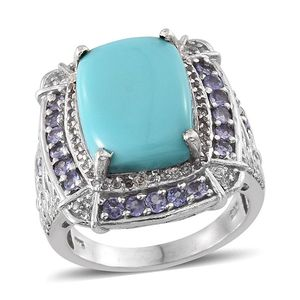 Sonoran Blue Turquoise, Tanzanite, White Topaz Platinum Over Sterling Silver Ring (Size 7.0) TGW 10.050 cts.