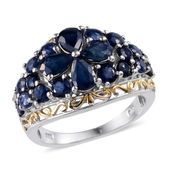 Kanchanaburi Blue Sapphire 14K YG and Platinum Over Sterling Silver Ring (Size 6.0) TGW 4.265 cts.