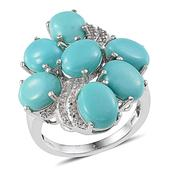 Sonoran Blue Turquoise, White Topaz Platinum Over Sterling Silver Ring (Size 9.0) TGW 12.010 cts.