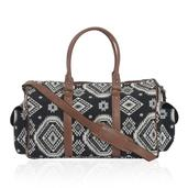 Black and White Aztec Print Duffel Bag (19x8x12 in)