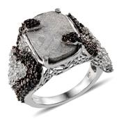 Marvelous Meteorites (Cush 17.35 Ct), White Topaz, Thai Black Spinel Ring in Platinum Overlay Sterling Silver Nickel Free (Size 9.0) TGW 20.710 cts.