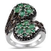 Kagem Zambian Emerald, Thai Black Spinel Platinum Over Sterling Silver Ring (Size 7.0) TGW 3.440 cts.
