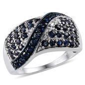 Kanchanaburi Blue Sapphire, Diamond Platinum Over Sterling Silver Ring (Size 8.0) TDiaWt 0.08 cts, TGW 2.525 cts.