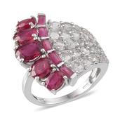 Niassa Ruby, White Topaz Platinum Over Sterling Silver Ring (Size 6.0) TGW 8.96 cts.