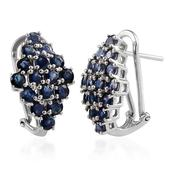Kanchanaburi Blue Sapphire Platinum Over Sterling Silver Earrings TGW 4.800 cts.