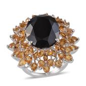 Australian Black Tourmaline, Brazilian Citrine Platinum Over Sterling Silver Ring (Size 10.0) TGW 24.450 cts.
