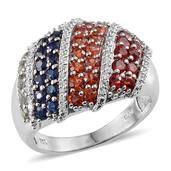 Multi Sapphire, Simulated Diamond Platinum Over Sterling Silver Ring (Size 7.0) TGW 3.555 cts.