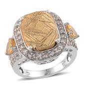 Golden Marvelous Meteorites, White Topaz, Brazilian Citrine Platinum Over Sterling Silver Ring (Size 8.0) TGW 20.700 cts.