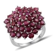 Niassa Ruby Platinum Over Sterling Silver Cluster Ring (Size 7.0) TGW 10.100 cts.