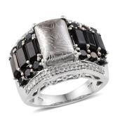 Marvelous Meteorites (Bgt 8.40 Ct), Thai Black Spinel, White Topaz Ring in Platinum Overlay Sterling Silver Nickel Free (Size 7) TGW 13.64 Cts.