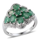 Kagem Zambian Emerald, White Topaz Platinum Over Sterling Silver Ring (Size 7.0) TGW 3.695 cts.
