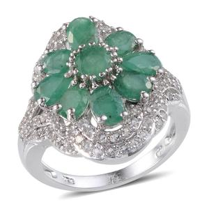 Kagem Zambian Emerald, White Topaz Platinum Over Sterling Silver Ring (Size 9.0) TGW 5.063 cts.