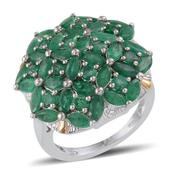 Kagem Zambian Emerald 14K YG and Platinum Over Sterling Silver Cluster Ring (Size 8.0) TGW 5.950 cts.