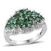 Kagem Zambian Emerald, White Topaz Platinum Over Sterling Silver Ring (Size 6.0) TGW 3.105 cts.