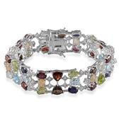 Multi Gemstone Platinum Over Sterling Silver Bracelet (7.50 In) TGW 30.020 cts.