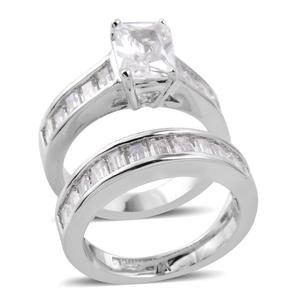 Simulated Diamond Silvertone Ring with Guard (Size 7) TGW 7.78 cts.