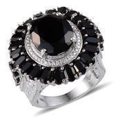 Australian Black Tourmaline, Thai Black Spinel, Kanchanaburi Blue Sapphire, Diamond Platinum Over Sterling Silver Ring (Size 7.0) TDiaWt 0.03 cts, TGW 15.320 cts.