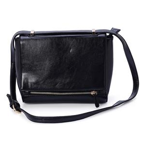 J Francis - Black Faux Leather Crossbody Bag (10x4x8 in)