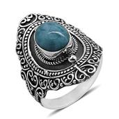 Bali Legacy Collection Larimar Sterling Silver Ring (Size 8.0) TGW 3.58 cts.