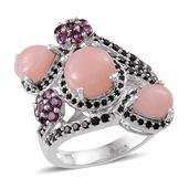 Peruvian Pink Opal, Thai Black Spinel, Orissa Rhodolite Garnet Platinum Over Sterling Silver Ring (Size 8.0) TGW 6.540 cts.