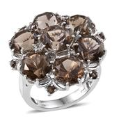 Brazilian Smoky Quartz, White Topaz Platinum Over Sterling Silver Ring (Size 9.0) TGW 16.750 cts.