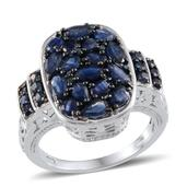 Kanchanaburi Blue Sapphire, Blue Diamond Platinum Over Sterling Silver Ring (Size 7.5) TDiaWt 0.04 cts, TGW 4.830 cts.
