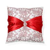 Red Holiday Bow Pillow (15x15 in)