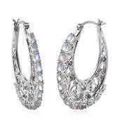 Sri Lankan Rainbow Moonstone, Tanzanite Platinum Over Sterling Silver Hoop Earrings TGW 9.060 cts.