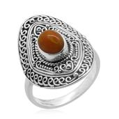 Bali Legacy Collection Orange Ethiopian Welo Opal Sterling Silver Ring (Size 7.0) TGW 1.150 cts.