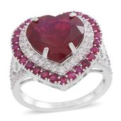 Niassa Ruby, Burmese Ruby, White Topaz Sterling Silver Heart Ring (Size 10.0) TGW 12.93 cts.