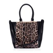 J Francis - Black and Brown Leopard Print Faux Leather Handbag (9x4x11 in)