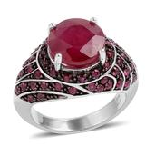Niassa Ruby, Ruby Dramatic Sterling Silver Swirling Ring (Size 8.0) TGW 7.500 cts.