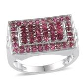 Ouro Fino Rubellite Platinum Over Sterling Silver Men's Ring (Size 12.0) TGW 3.000 cts.