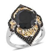 Thai Black Spinel 14K YG and Platinum Over Sterling Silver Ring (Size 8.0) TGW 10.180 cts.