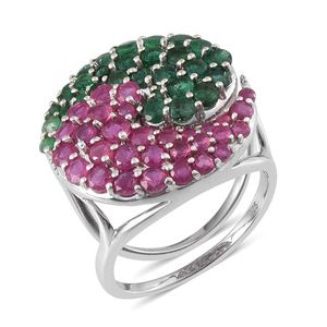 Niassa Ruby, Sakota Emerald Platinum Over Sterling Silver Ring (Size 10.0) TGW 6.98 cts.
