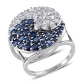 Set of 2 Kanchanaburi Blue Sapphire, White Topaz Platinum Over Sterling Silver Yin Yang Stackable Rings (Size 8.0) TGW 6.017 cts.