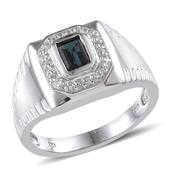Monte Belo Indicolite, White Topaz Platinum Over Sterling Silver Men's Ring (Size 11.0) TGW 1.400 cts.
