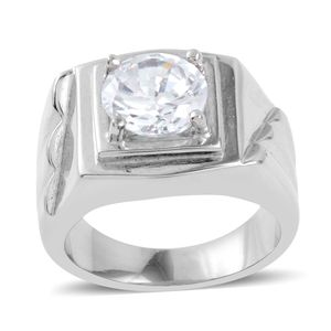 Simulated Diamond Stainless Steel Ring (Size 5.5) TGW 3.46 cts.