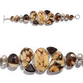 Artisan Crafted Peanut Wood Jasper, Brazilian Smoky Quartz, Freshwater Pearl Sterling Silver Bracelet (7.50 In) TGW 122.490 cts.