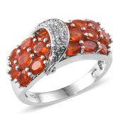 Jalisco Cherry Fire Opal (Ovl), White Topaz Ring in Platinum Overlay Sterling Silver Nickel Free (Size 8) TGW 2.65 Cts.