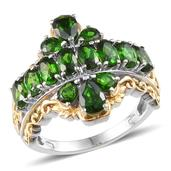 Russian Diopside 14K YG and Platinum Over Sterling Silver Ring (Size 5.0) TGW 3.820 cts.