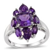 Lusaka Amethyst (Cush 2.25 Ct) Ring in Platinum Overlay Sterling Silver Nickel Free (Size 8.0) TGW 4.73 Cts.