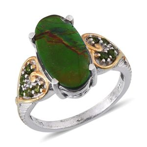 Canadian Ammolite, Russian Diopside 14K YG and Platinum Over Sterling Silver Ring (Size 9.0) TGW 4.40 cts.