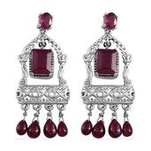 Royal Jaipur Niassa Ruby, Ruby Platinum Over Sterling Silver Chandelier Earrings TGW 20.03 cts.