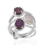 Snow, Rainbow and Copper Pink Drusy Quartz Platinum Over Sterling Silver Set of 3 Rings (Size 11.0) TGW 4.900 cts.